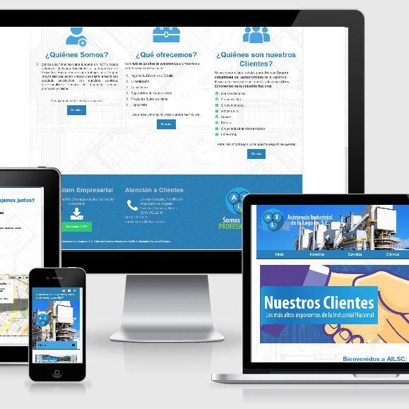 muestra de página web de la empresa AILSC