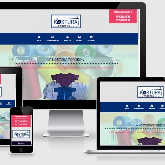 muestra de pagina web del negocio la kostura torreon