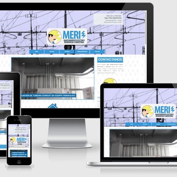 muestra de pagina web de la empresa MERI