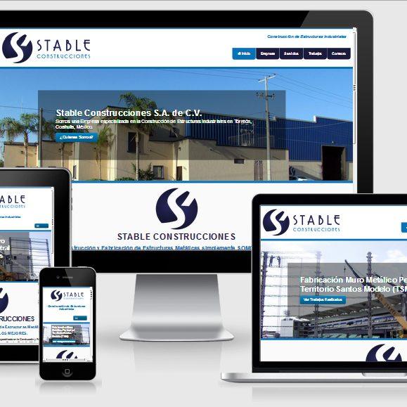 muestra de pagina web de la empresa stable construcciones