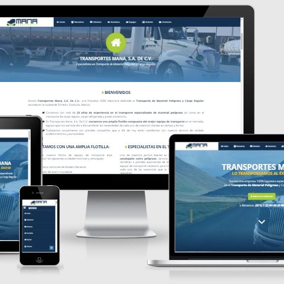muestra de pagina web de la empresa transportes mana